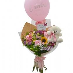 Balão Decorado Rosa Corações